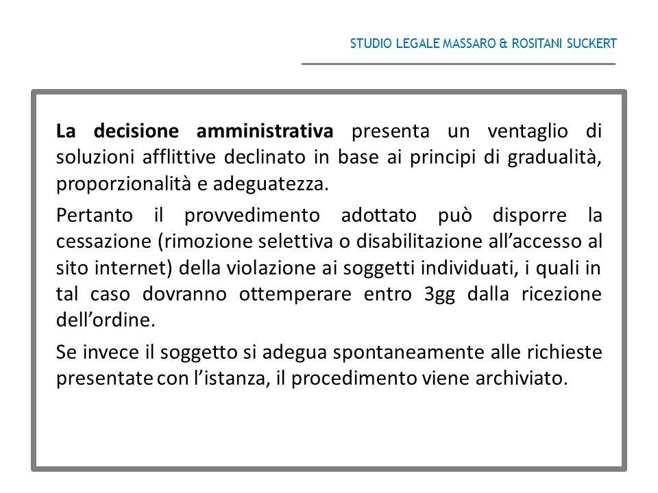 STUDIO LEGALE MASSARO & ROSITANI SUCKERT ______________________________________ La decisione amministrativa presenta un ventaglio di soluzioni afflitt