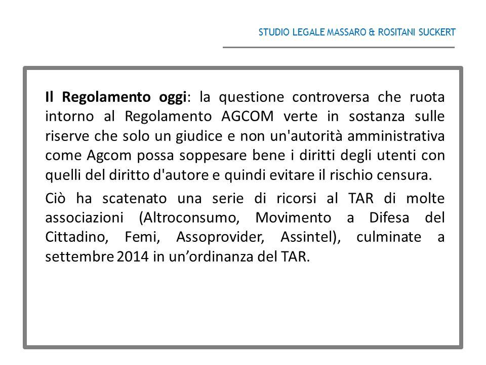 STUDIO LEGALE MASSARO & ROSITANI SUCKERT ______________________________________ Il Regolamento oggi: la questione controversa che ruota intorno al Reg