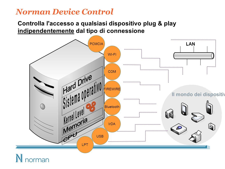Norman Device Control PCMCIA WI-FI COM FIREWIRE Bluetooth IrDA USB LPT LAN Controlla l accesso a qualsiasi dispositivo plug & play indipendentemente dal tipo di connessione Il mondo dei dispositivi