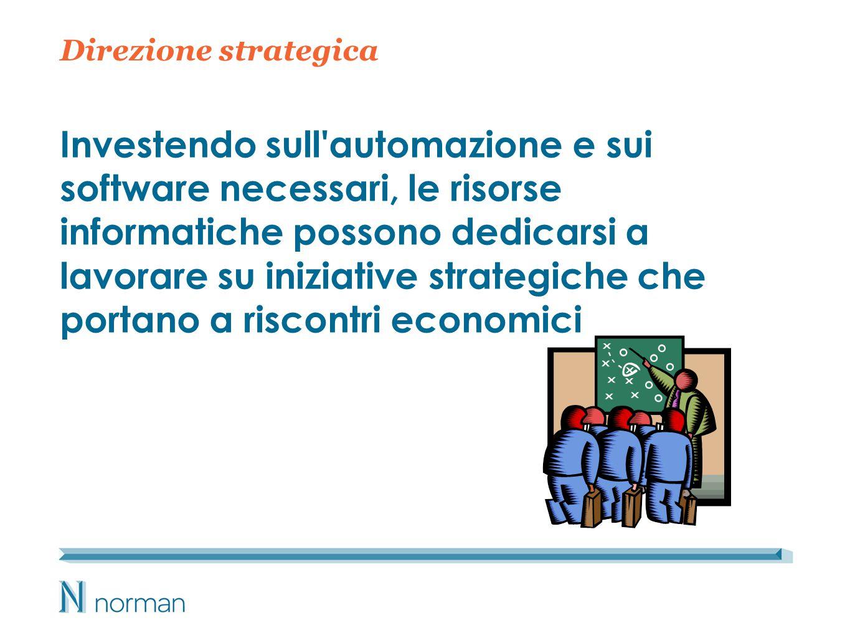 Direzione strategica Investendo sull automazione e sui software necessari, le risorse informatiche possono dedicarsi a lavorare su iniziative strategiche che portano a riscontri economici