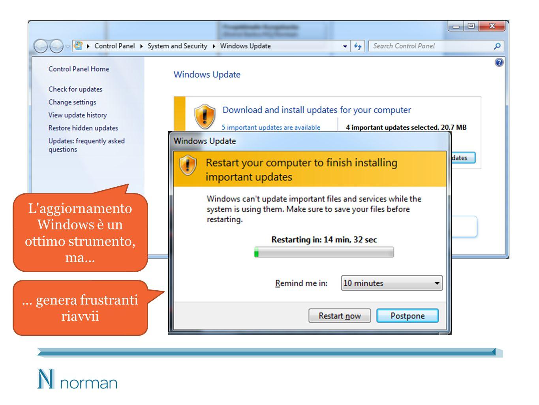 L aggiornamento Windows è un ottimo strumento, ma...... genera frustranti riavvii