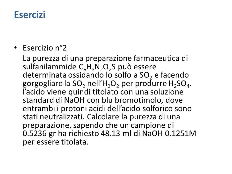 Esercizio n°1 Una soluzione contiene NaHCO 3, Na 2 CO 3 e NaOH o da soli o in una combinazione.