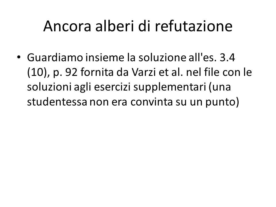 Ancora alberi di refutazione Guardiamo insieme la soluzione all'es. 3.4 (10), p. 92 fornita da Varzi et al. nel file con le soluzioni agli esercizi su