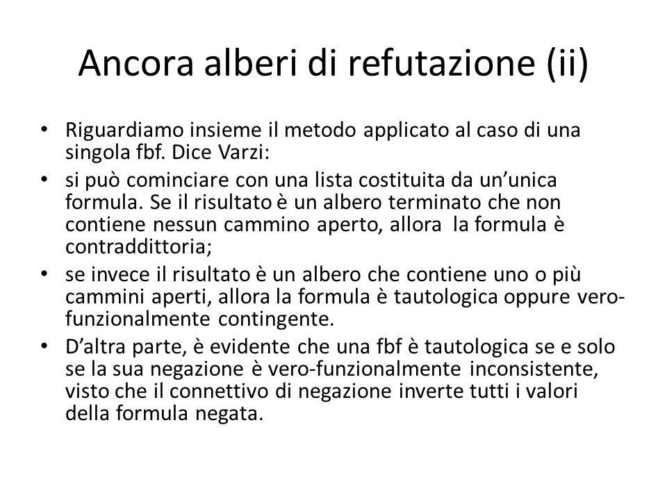 Ancora alberi di refutazione (ii) Riguardiamo insieme il metodo applicato al caso di una singola fbf. Dice Varzi: si può cominciare con una lista cost