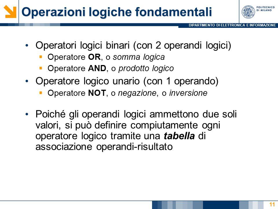 DIPARTIMENTO DI ELETTRONICA E INFORMAZIONE 11 Operatori logici binari (con 2 operandi logici)  Operatore OR, o somma logica  Operatore AND, o prodotto logico Operatore logico unario (con 1 operando)  Operatore NOT, o negazione, o inversione Poiché gli operandi logici ammettono due soli valori, si può definire compiutamente ogni operatore logico tramite una tabella di associazione operandi-risultato Operazioni logiche fondamentali