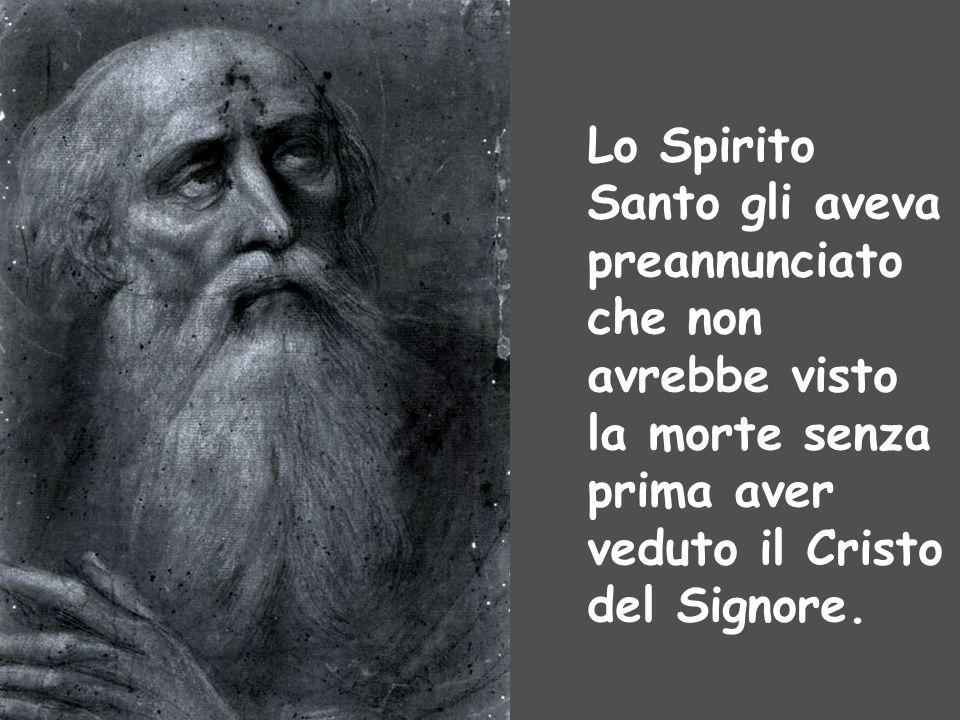 Lo Spirito Santo gli aveva preannunciato che non avrebbe visto la morte senza prima aver veduto il Cristo del Signore.