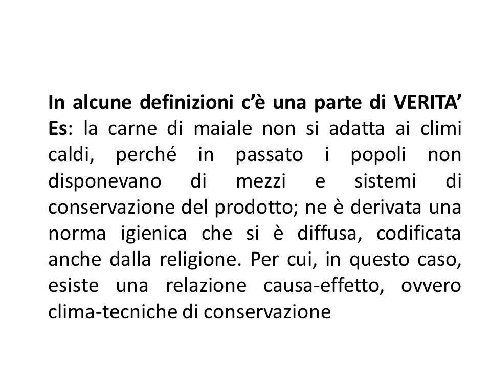 In alcune definizioni c'è una parte di VERITA' Es: la carne di maiale non si adatta ai climi caldi, perché in passato i popoli non disponevano di mezz
