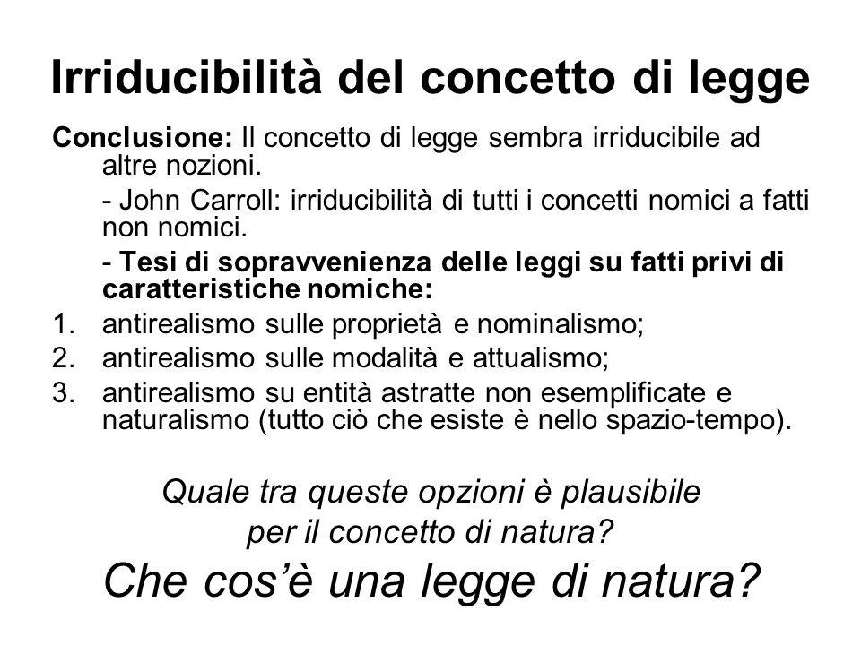 Irriducibilità del concetto di legge Conclusione: Il concetto di legge sembra irriducibile ad altre nozioni.