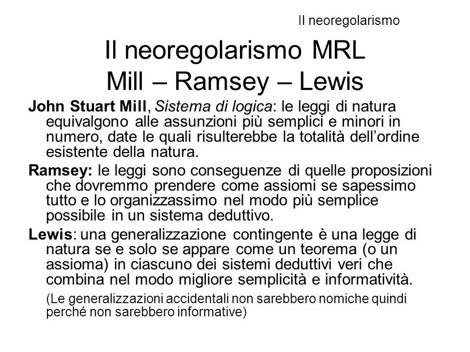 Il neoregolarismo MRL Mill – Ramsey – Lewis John Stuart Mill, Sistema di logica: le leggi di natura equivalgono alle assunzioni più semplici e minori in numero, date le quali risulterebbe la totalità dell'ordine esistente della natura.