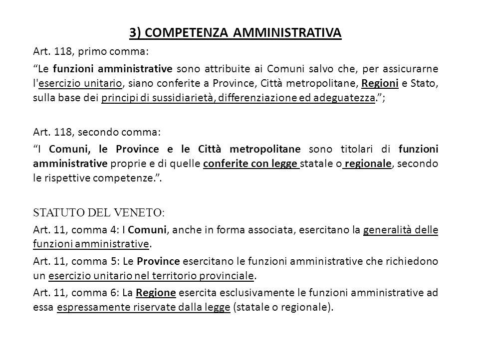 """3) COMPETENZA AMMINISTRATIVA Art. 118, primo comma: """"Le funzioni amministrative sono attribuite ai Comuni salvo che, per assicurarne l'esercizio unita"""