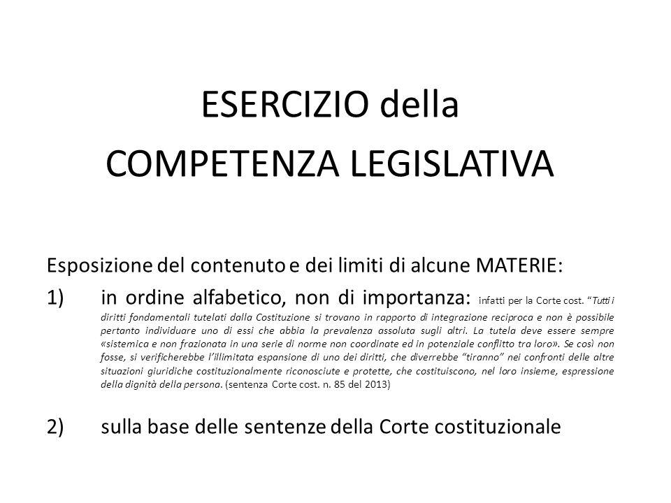 ESERCIZIO della COMPETENZA LEGISLATIVA Esposizione del contenuto e dei limiti di alcune MATERIE: 1)in ordine alfabetico, non di importanza: infatti pe