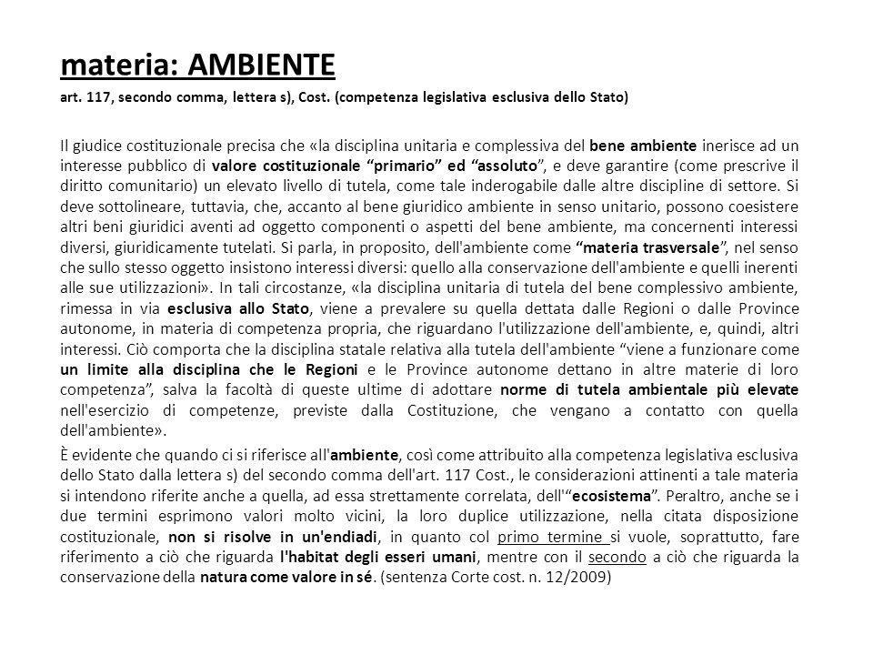 materia: AMBIENTE art. 117, secondo comma, lettera s), Cost. (competenza legislativa esclusiva dello Stato) Il giudice costituzionale precisa che «la