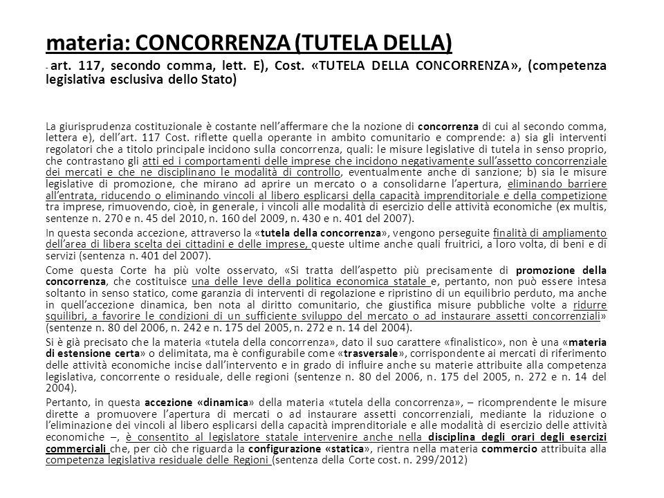 materia: CONCORRENZA (TUTELA DELLA) - art. 117, secondo comma, lett. E), Cost. «TUTELA DELLA CONCORRENZA», (competenza legislativa esclusiva dello Sta