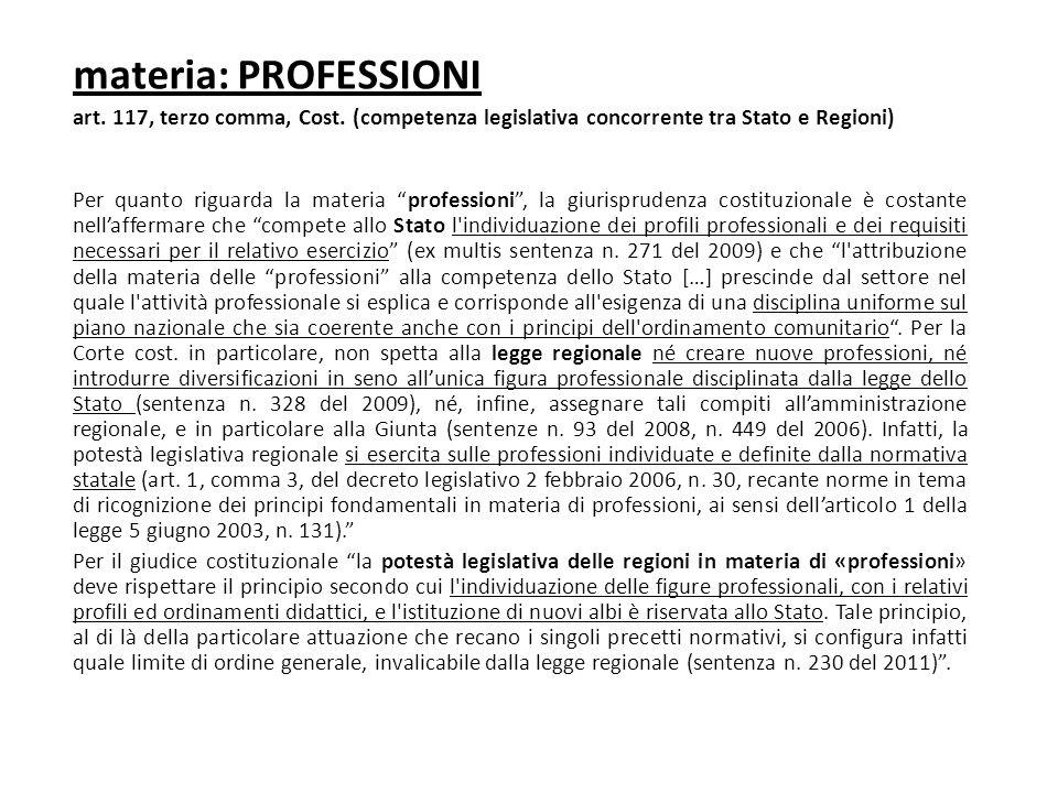 """materia: PROFESSIONI art. 117, terzo comma, Cost. (competenza legislativa concorrente tra Stato e Regioni) Per quanto riguarda la materia """"professioni"""