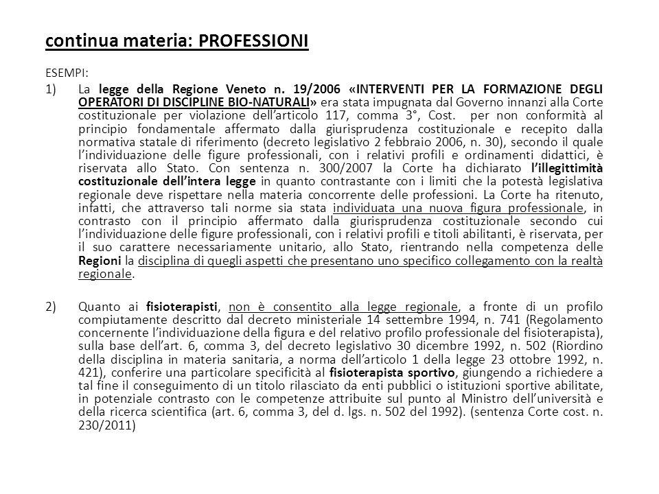 continua materia: PROFESSIONI ESEMPI: 1)La legge della Regione Veneto n. 19/2006 «INTERVENTI PER LA FORMAZIONE DEGLI OPERATORI DI DISCIPLINE BIO-NATUR