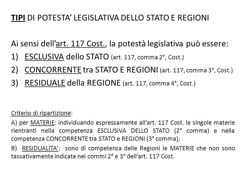 TIPI DI POTESTA' LEGISLATIVA DELLO STATO E REGIONI Ai sensi dell'art. 117 Cost., la potestà legislativa può essere: 1)ESCLUSIVA dello STATO (art. 117,