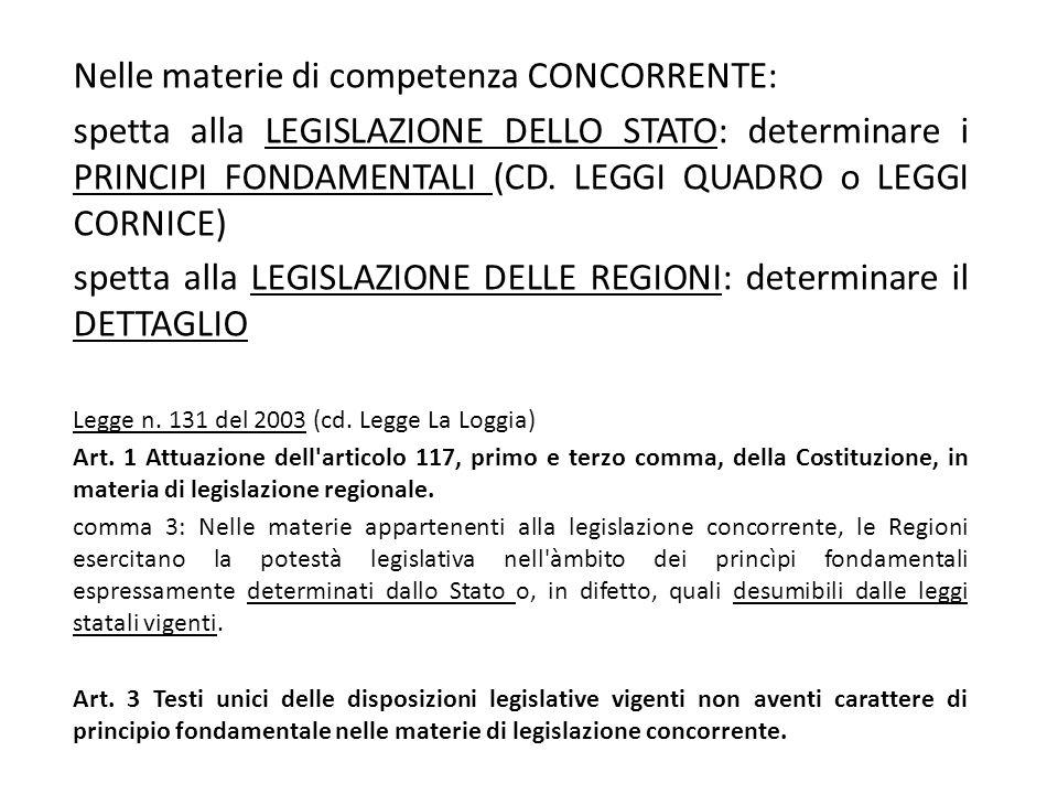 Nelle materie di competenza CONCORRENTE: spetta alla LEGISLAZIONE DELLO STATO: determinare i PRINCIPI FONDAMENTALI (CD. LEGGI QUADRO o LEGGI CORNICE)