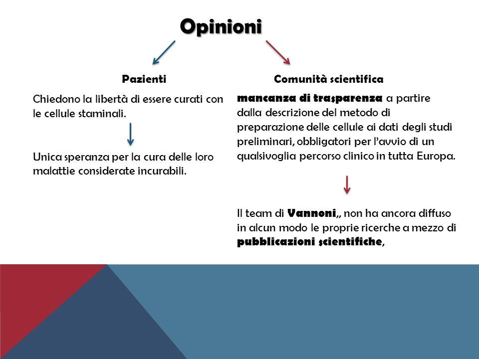 Opinioni PazientiComunità scientifica Chiedono la libertà di essere curati con le cellule staminali. Unica speranza per la cura delle loro malattie co