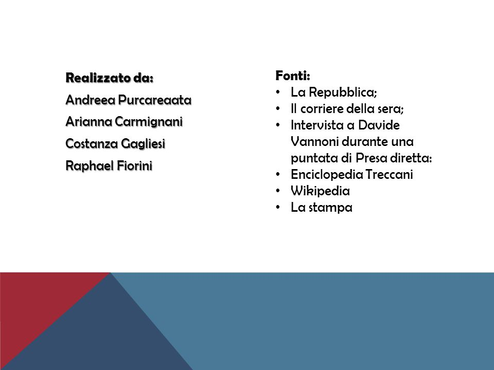 Realizzato da: Andreea Purcareaata Arianna Carmignani Costanza Gagliesi Raphael Fiorini Fonti: La Repubblica; Il corriere della sera; Intervista a Dav