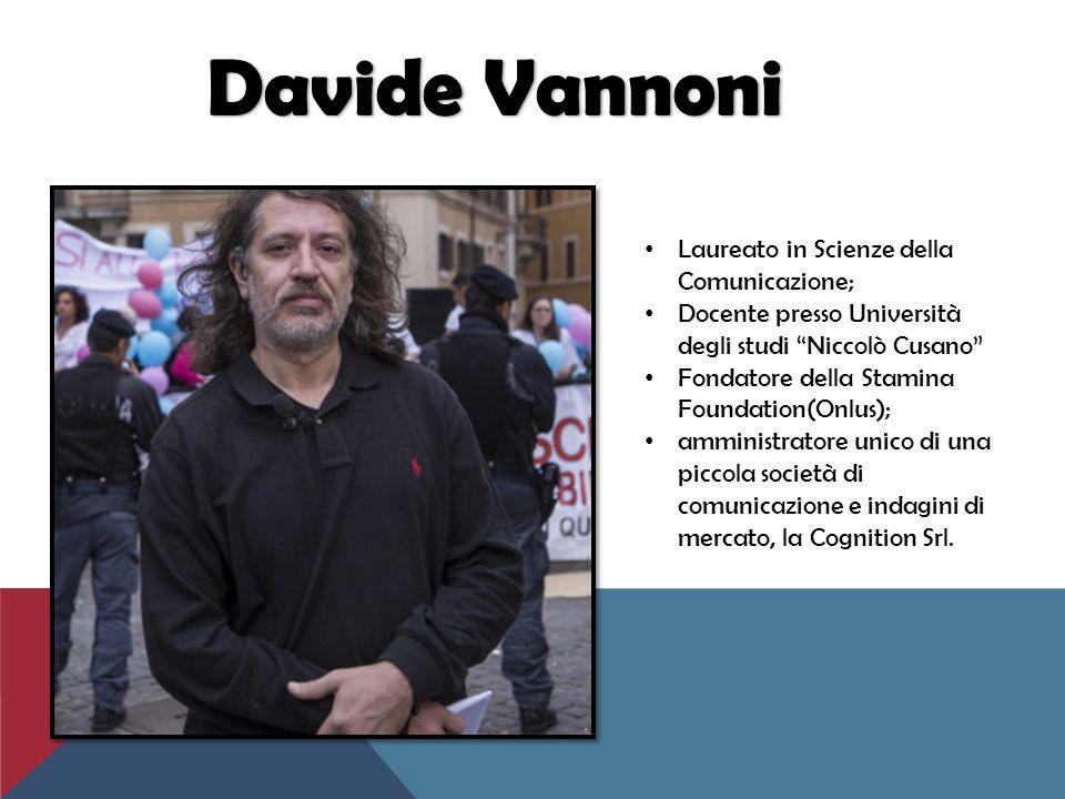 """Laureato in Scienze della Comunicazione; Docente presso Università degli studi """"Niccolò Cusano"""" Fondatore della Stamina Foundation(Onlus); amministrat"""