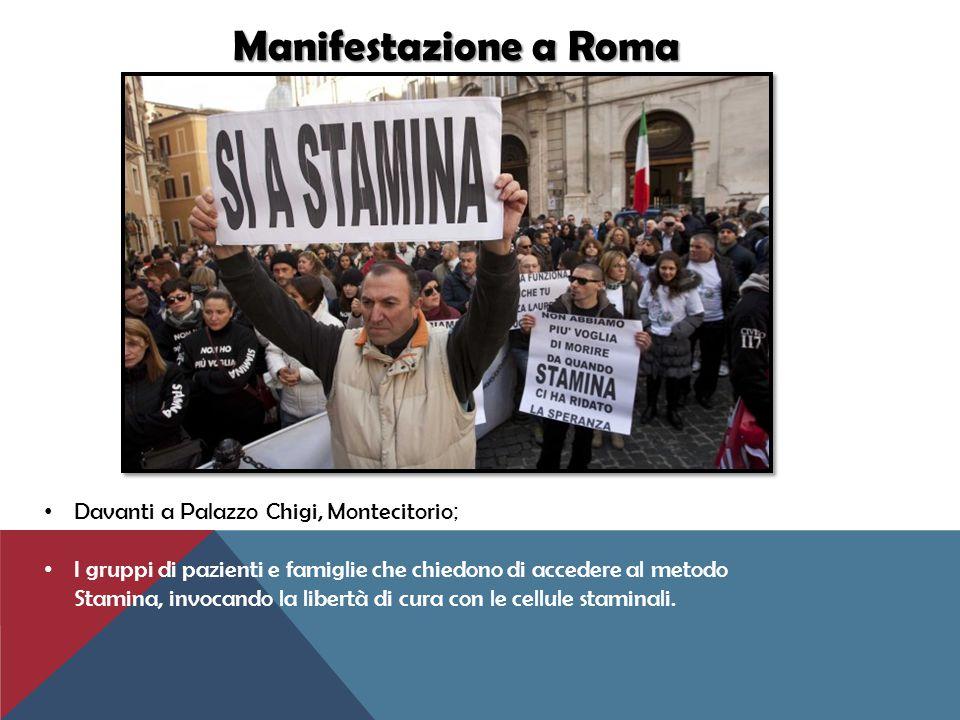 Manifestazione a Roma I gruppi di pazienti e famiglie che chiedono di accedere al metodo Stamina, invocando la libertà di cura con le cellule staminal