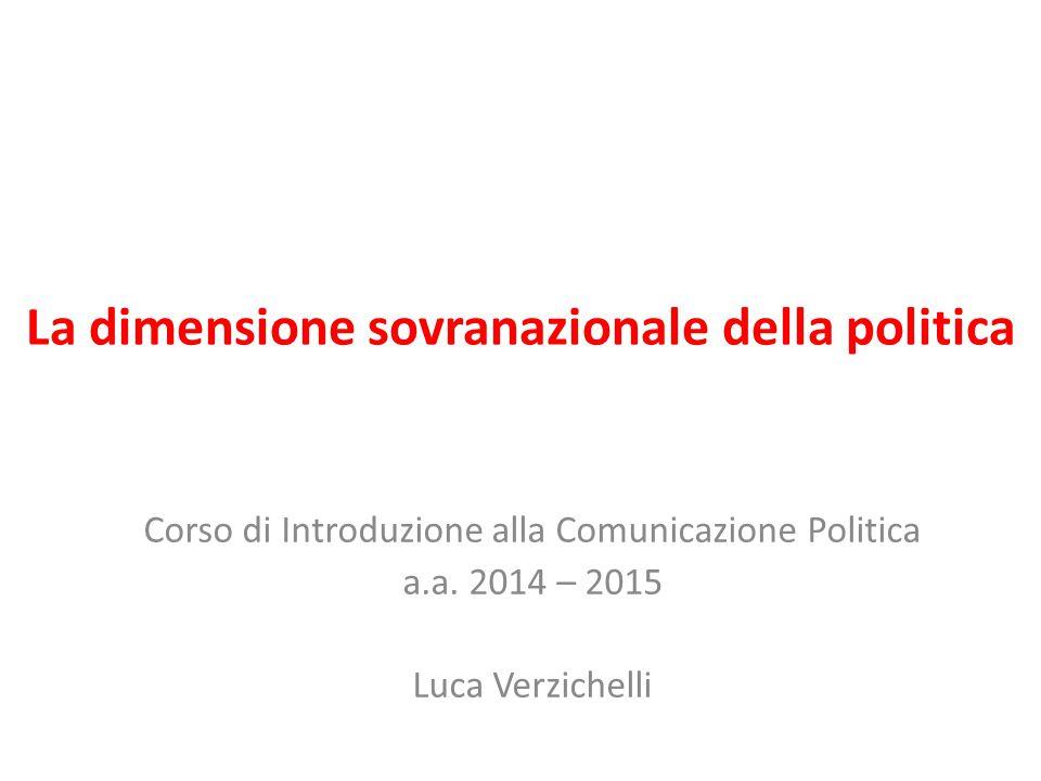 La dimensione sovranazionale della politica Corso di Introduzione alla Comunicazione Politica a.a. 2014 – 2015 Luca Verzichelli