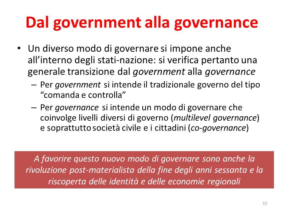 Dal government alla governance Un diverso modo di governare si impone anche all'interno degli stati-nazione: si verifica pertanto una generale transiz