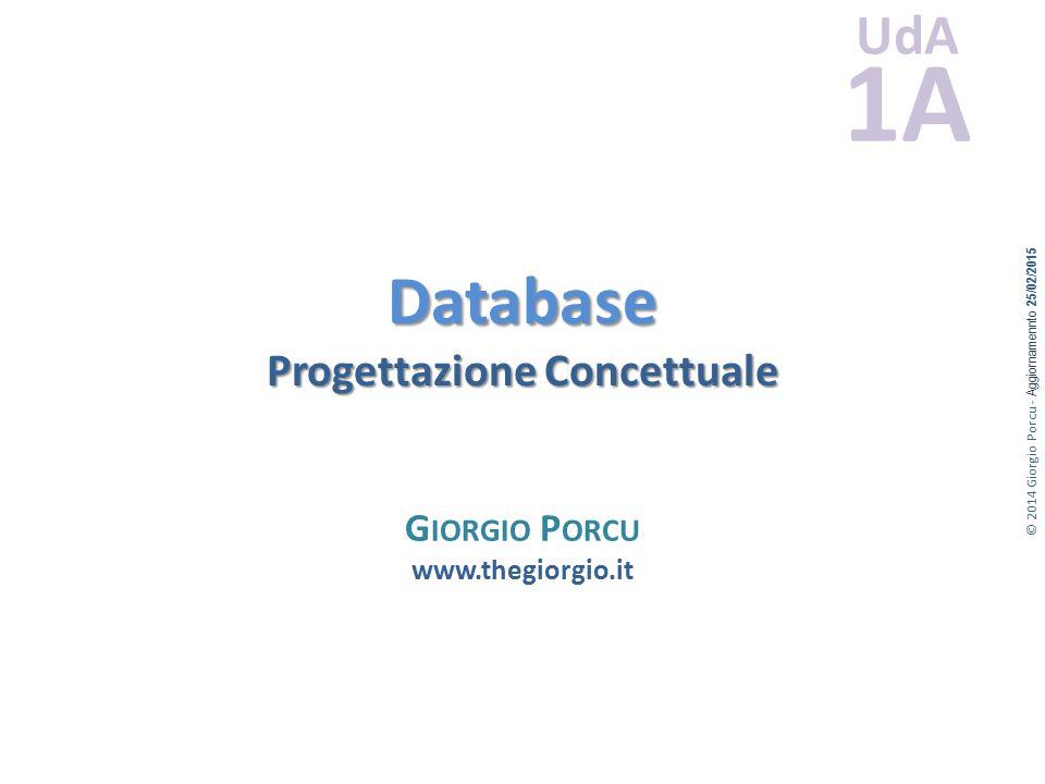 © 2014 Giorgio Porcu - Aggiornamennto 25/02/2015 UdA 1A Database Progettazione Concettuale G IORGIO P ORCU www.thegiorgio.it