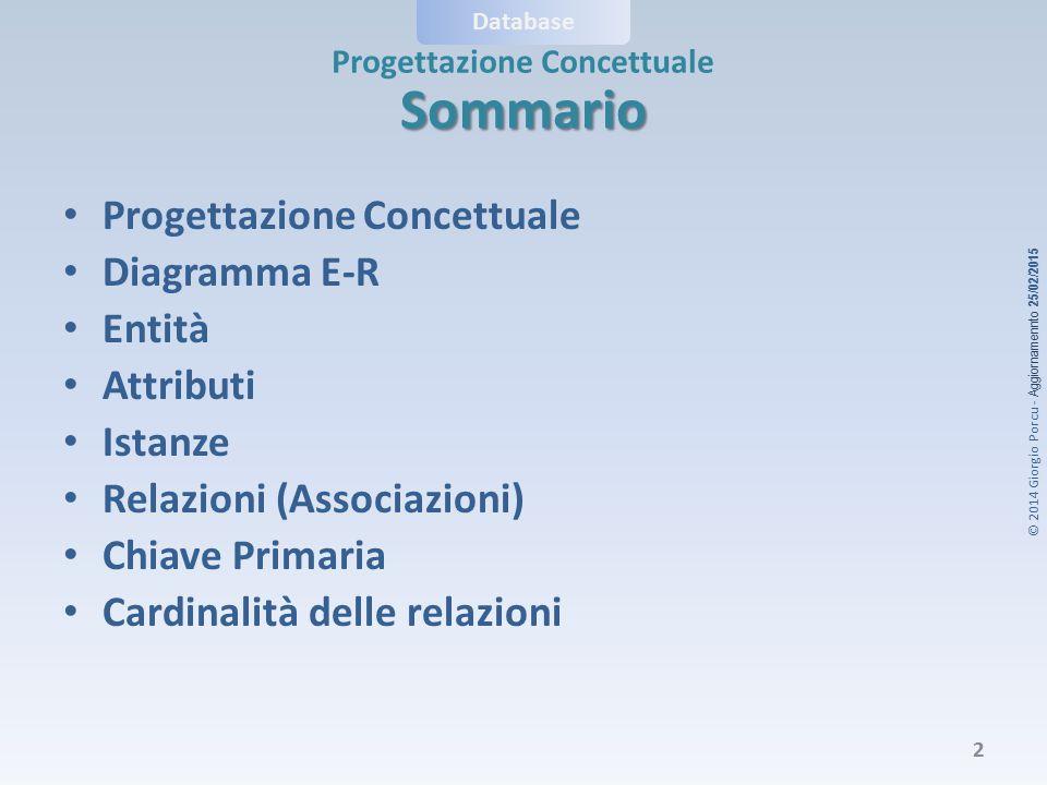 © 2014 Giorgio Porcu - Aggiornamennto 25/02/2015 Progettazione Concettuale Database Sommario Progettazione Concettuale Diagramma E-R Entità Attributi