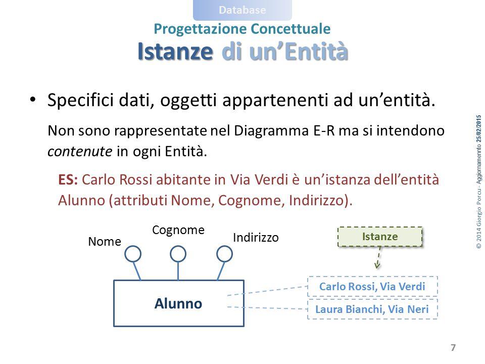 © 2014 Giorgio Porcu - Aggiornamennto 25/02/2015 Database Progettazione Concettuale Istanze di un'Entità Specifici dati, oggetti appartenenti ad un'en