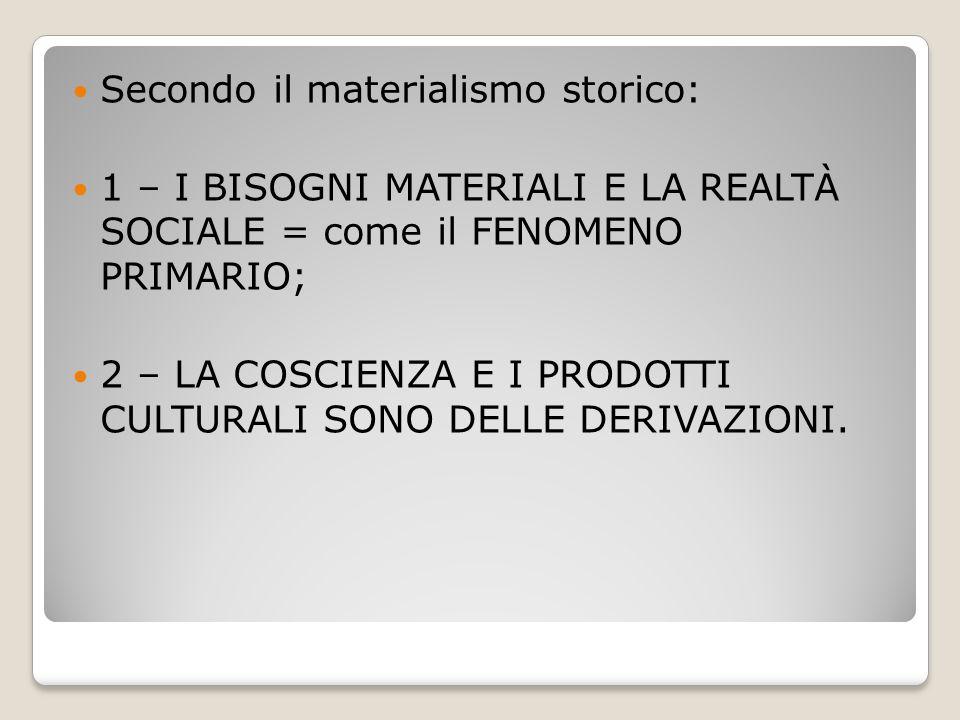 Secondo il materialismo storico: 1 – I BISOGNI MATERIALI E LA REALTÀ SOCIALE = come il FENOMENO PRIMARIO; 2 – LA COSCIENZA E I PRODOTTI CULTURALI SONO