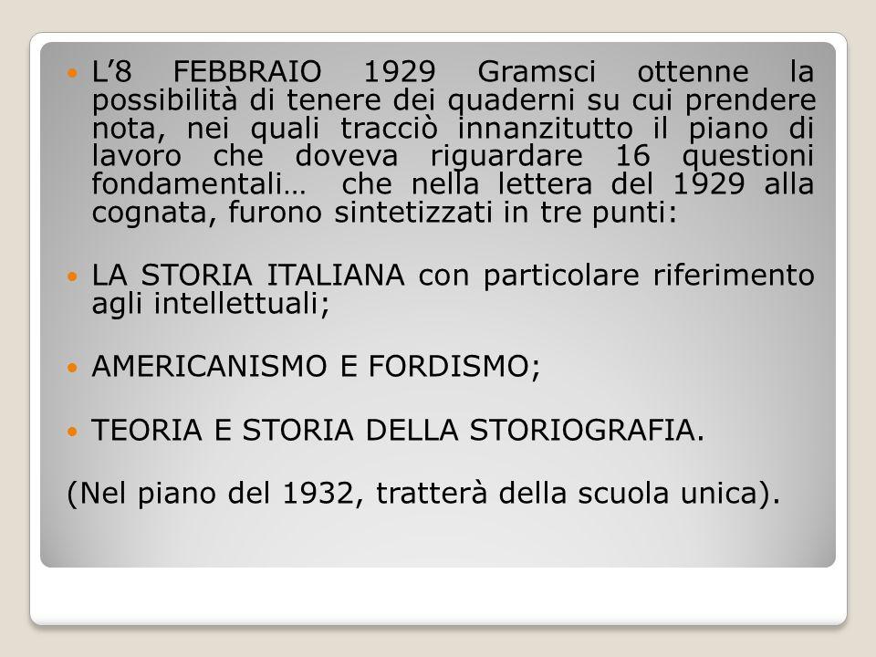 L'8 FEBBRAIO 1929 Gramsci ottenne la possibilità di tenere dei quaderni su cui prendere nota, nei quali tracciò innanzitutto il piano di lavoro che do