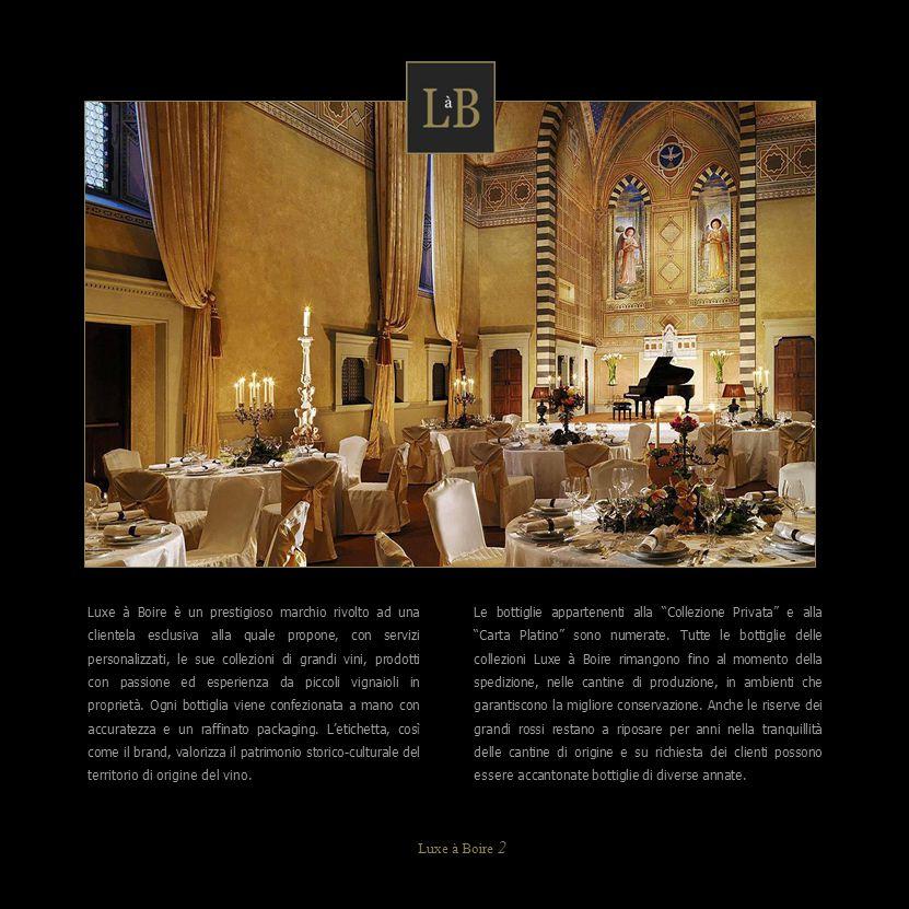 Luxe à Boire è un prestigioso marchio rivolto ad una clientela esclusiva alla quale propone, con servizi personalizzati, le sue collezioni di grandi v