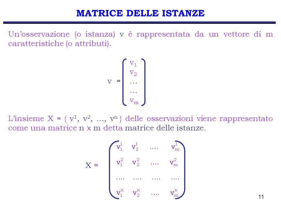 11 MATRICE DELLE ISTANZE Un'osservazione (o istanza) v è rappresentata da un vettore di m caratteristiche (o attributi). v 1 v 2 v = … … v m L'insieme