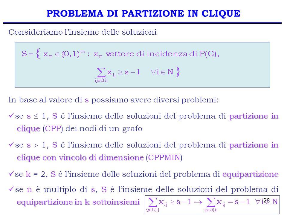 28 PROBLEMA DI PARTIZIONE IN CLIQUE In base al valore di s possiamo avere diversi problemi: partizione in clique se s  1, S è l'insieme delle soluzioni del problema di partizione in clique (CPP) dei nodi di un grafo Consideriamo l'insieme delle soluzioni partizione in clique con vincolo di dimensione se s  1, S è l'insieme delle soluzioni del problema di partizione in clique con vincolo di dimensione (CPPMIN) equipartizione se k = 2, S è l'insieme delle soluzioni del problema di equipartizione equipartizione in k sottoinsiemi se n è multiplo di s, S è l'insieme delle soluzioni del problema di equipartizione in k sottoinsiemi