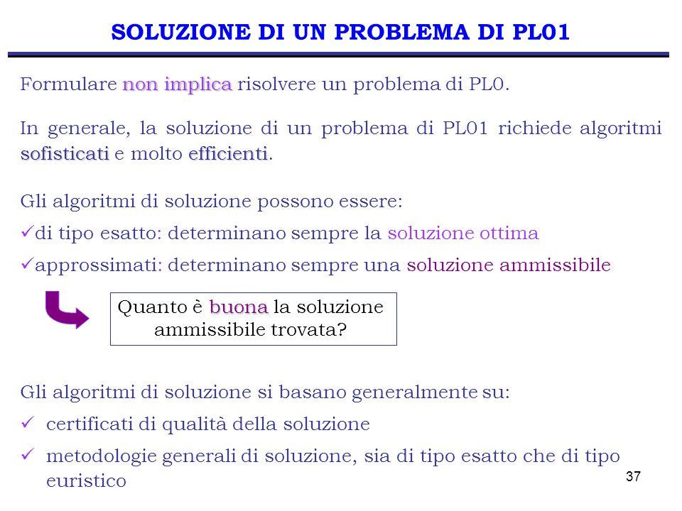 37 SOLUZIONE DI UN PROBLEMA DI PL01 sofisticatiefficienti In generale, la soluzione di un problema di PL01 richiede algoritmi sofisticati e molto effi