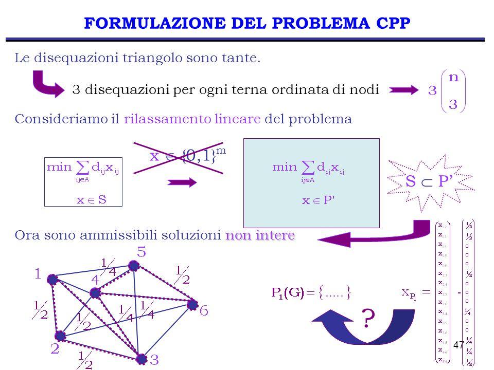 47 FORMULAZIONE DEL PROBLEMA CPP Le disequazioni triangolo sono tante. 3 disequazioni per ogni terna ordinata di nodi Consideriamo il rilassamento lin