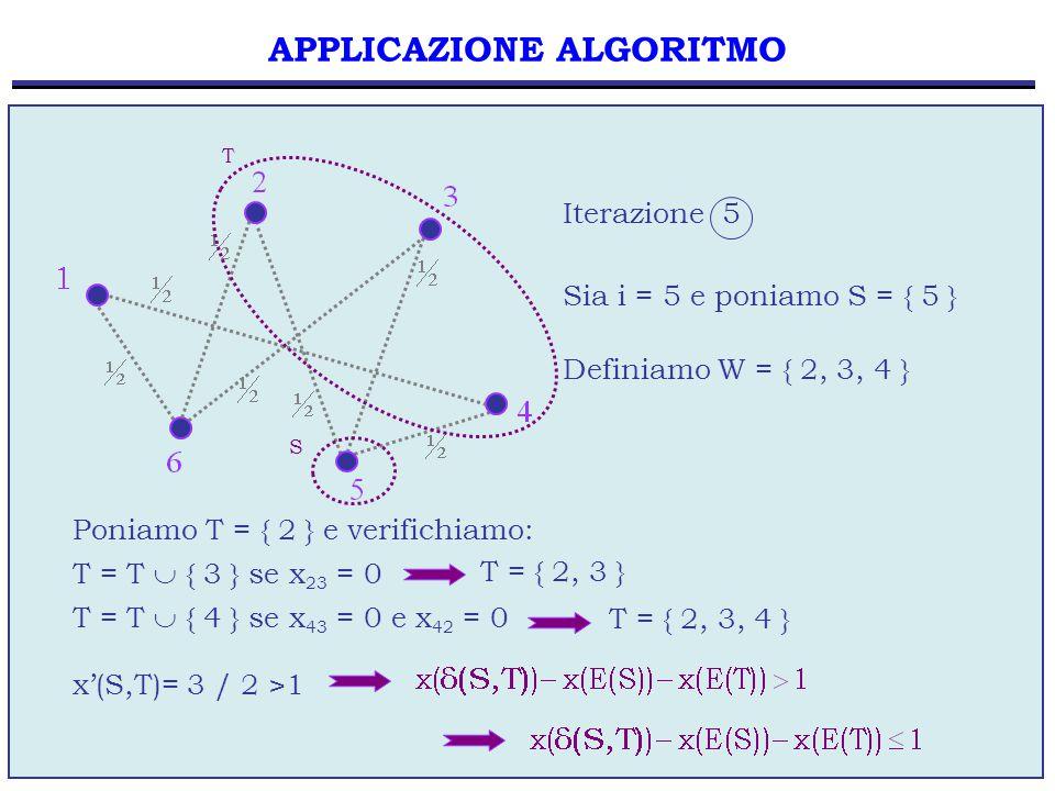 68 APPLICAZIONE ALGORITMO Sia i = 5 e poniamo S = { 5 } Definiamo W = { 2, 3, 4 } Poniamo T = { 2 } e verifichiamo: T = T  { 3 } se x 23 = 0 Iterazione 5 T = { 2, 3 } T = T  { 4 } se x 43 = 0 e x 42 = 0 T = { 2, 3, 4 } x'(S,T)= 3 / 2 >1 S T
