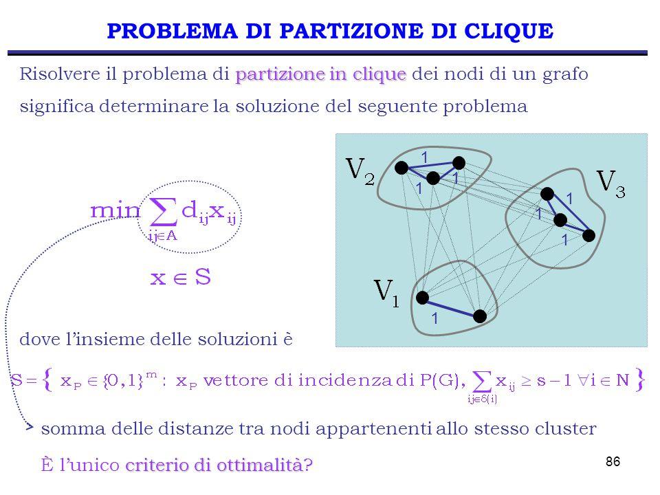 86 PROBLEMA DI PARTIZIONE DI CLIQUE partizione in clique Risolvere il problema di partizione in clique dei nodi di un grafo significa determinare la soluzione del seguente problema dove l'insieme delle soluzioni è 1 1 1 1 1 1 1 somma delle distanze tra nodi appartenenti allo stesso cluster criterio di ottimalità È l'unico criterio di ottimalità