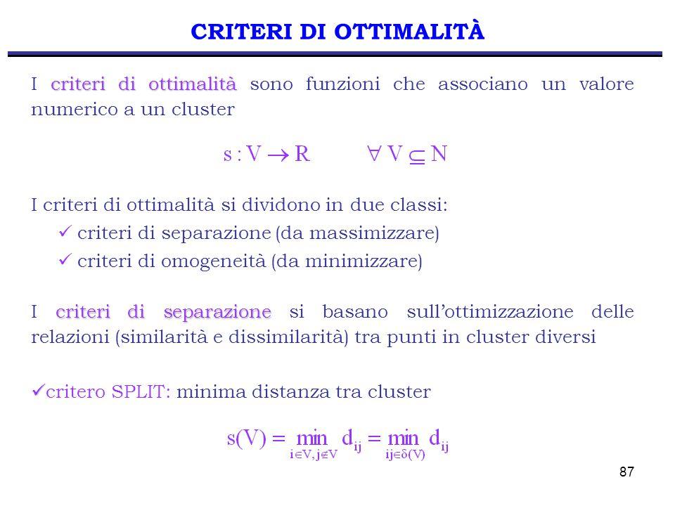 87 I criteri di ottimalità si dividono in due classi: criteri di separazione (da massimizzare) criteri di omogeneità (da minimizzare) CRITERI DI OTTIMALITÀ criteri di separazione I criteri di separazione si basano sull'ottimizzazione delle relazioni (similarità e dissimilarità) tra punti in cluster diversi critero SPLIT: minima distanza tra cluster criteri di ottimalità I criteri di ottimalità sono funzioni che associano un valore numerico a un cluster