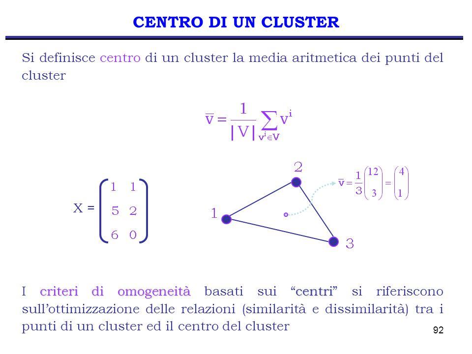 92 CENTRO DI UN CLUSTER criteri di omogeneitàcentri I criteri di omogeneità basati sui centri si riferiscono sull'ottimizzazione delle relazioni (similarità e dissimilarità) tra i punti di un cluster ed il centro del cluster Si definisce centro di un cluster la media aritmetica dei punti del cluster X =
