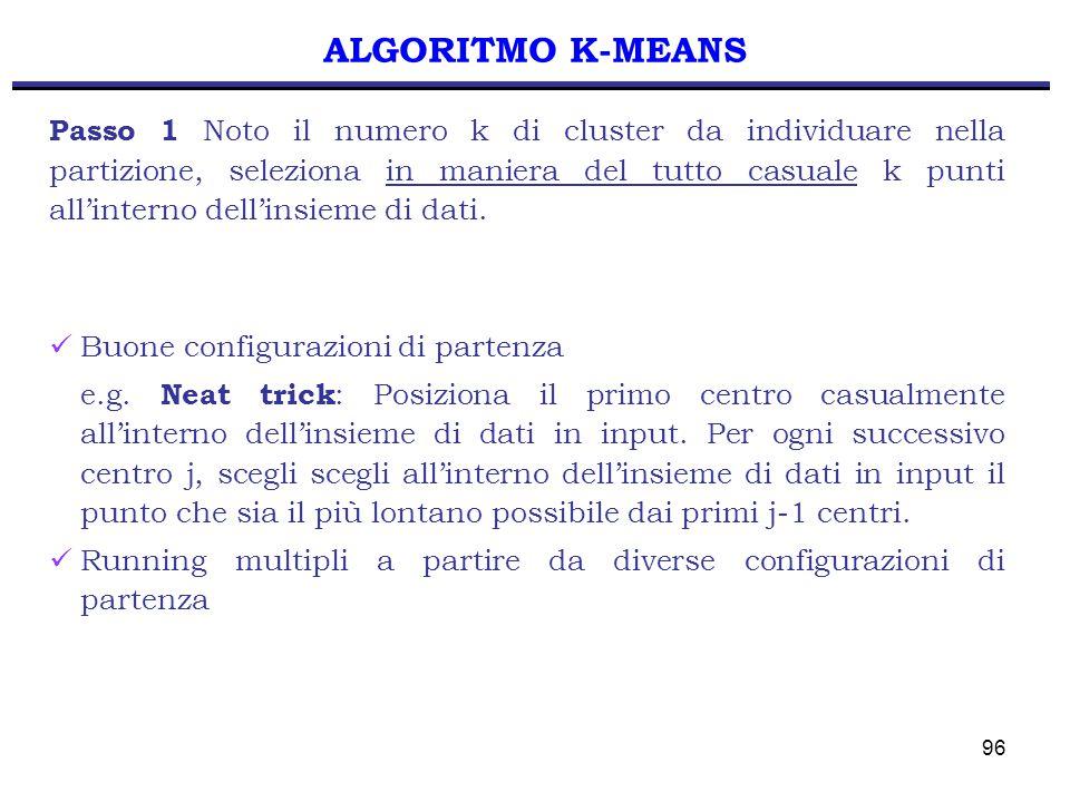 96 ALGORITMO K-MEANS Passo 1 Noto il numero k di cluster da individuare nella partizione, seleziona in maniera del tutto casuale k punti all'interno dell'insieme di dati.