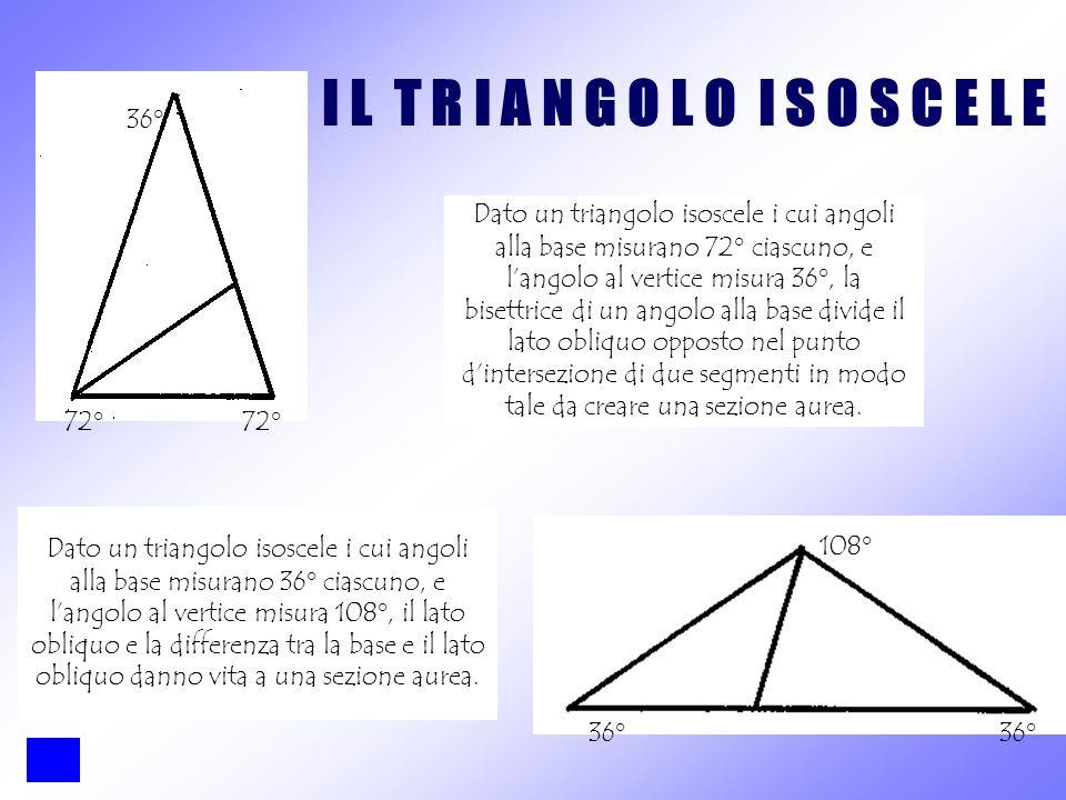 Dato un triangolo isoscele i cui angoli alla base misurano 72° ciascuno, e l'angolo al vertice misura 36°, la bisettrice di un angolo alla base divide il lato obliquo opposto nel punto d'intersezione di due segmenti in modo tale da creare una sezione aurea.