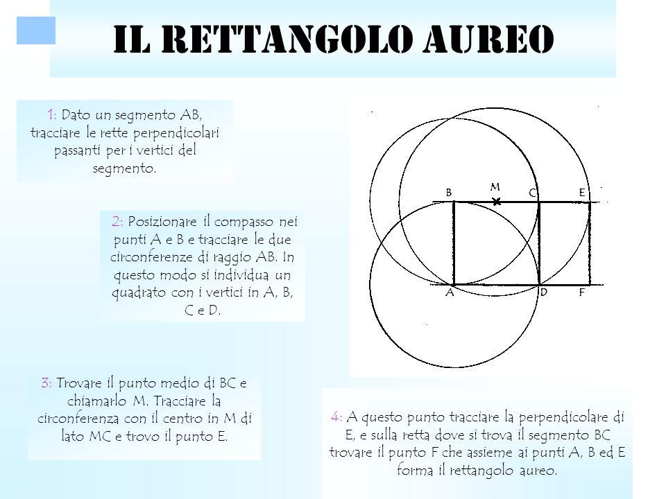 LA SPIRALE AUREA Disegnare all'interno di un rettangolo aureo un quadrato con lato uguale al lato minore del rettangolo.