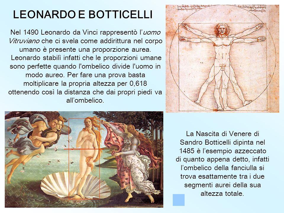 LEONARDO E BOTTICELLI La Nascita di Venere di Sandro Botticelli dipinta nel 1485 è l'esempio azzeccato di quanto appena detto, infatti l'ombelico della fanciulla si trova esattamente tra i due segmenti aurei della sua altezza totale.