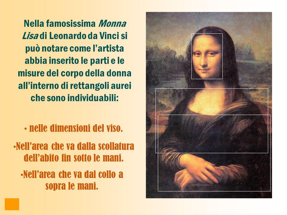 Nella famosissima Monna Lisa di Leonardo da Vinci si può notare come l'artista abbia inserito le parti e le misure del corpo della donna all'interno di rettangoli aurei che sono individuabili: nelle dimensioni del viso.