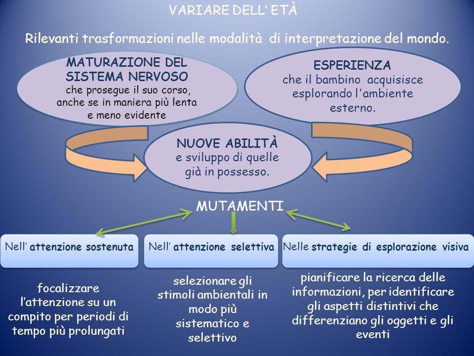 VARIARE DELL' ETÀ Rilevanti trasformazioni nelle modalità di interpretazione del mondo. MATURAZIONE DEL SISTEMA NERVOSO che prosegue il suo corso, anc