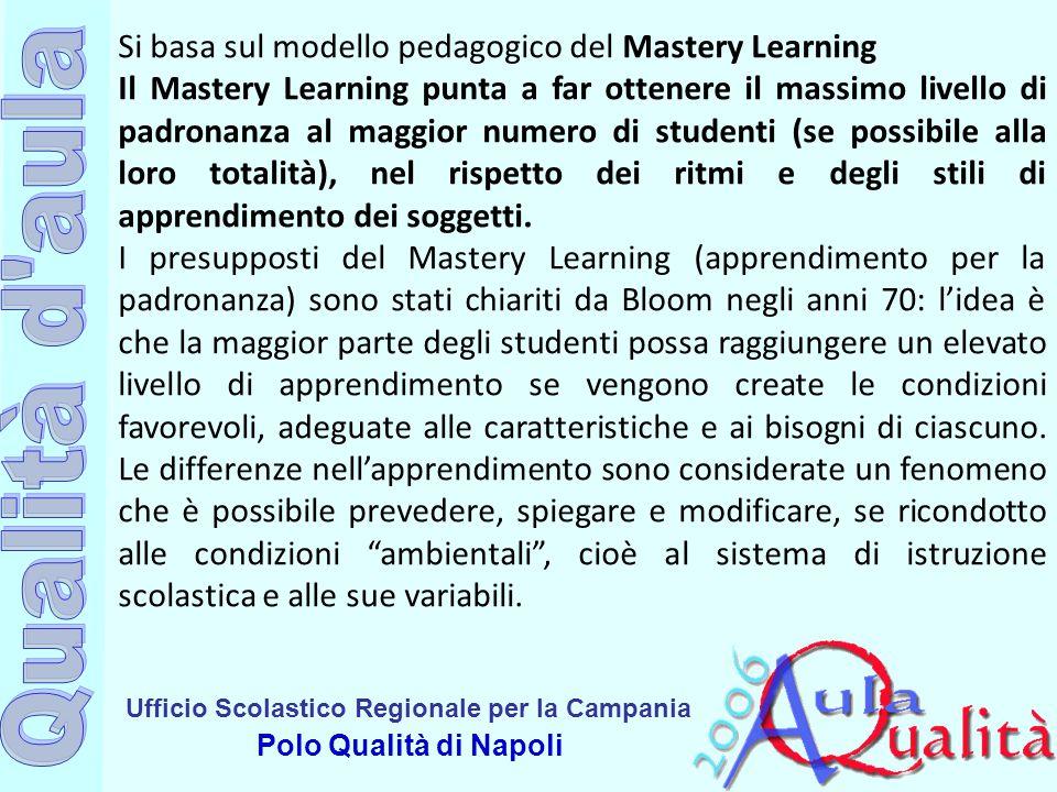 Ufficio Scolastico Regionale per la Campania Polo Qualità di Napoli Si basa sul modello pedagogico del Mastery Learning Il Mastery Learning punta a fa