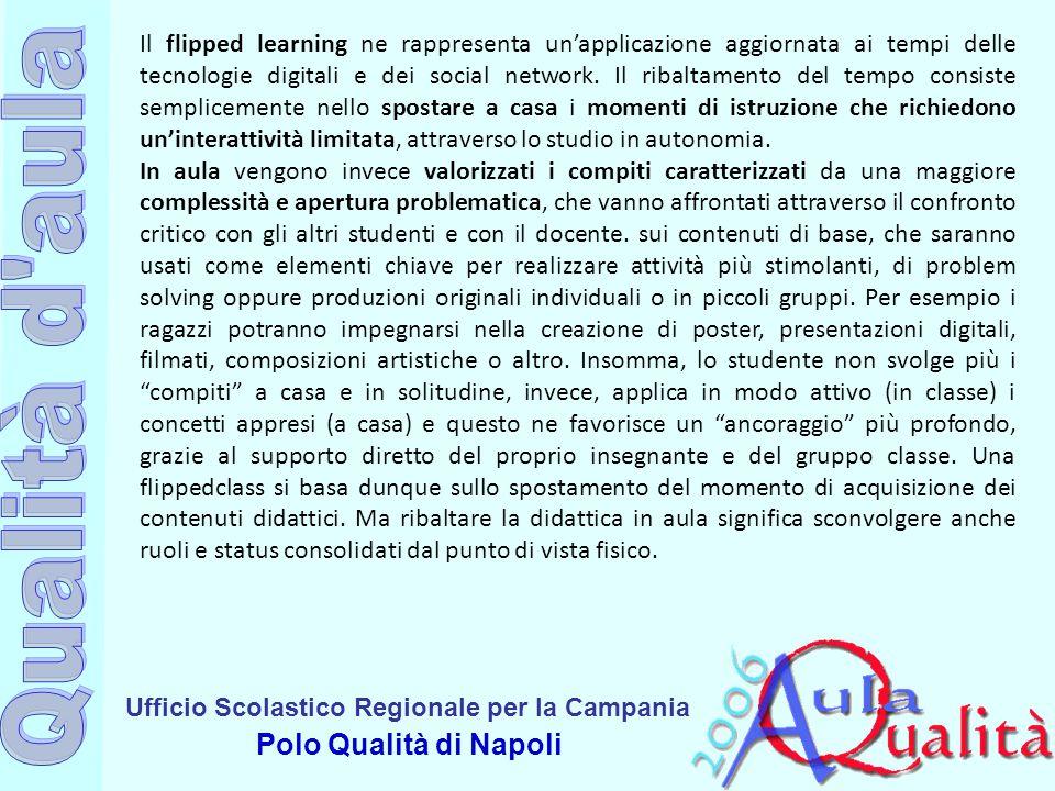 Ufficio Scolastico Regionale per la Campania Polo Qualità di Napoli Il flipped learning ne rappresenta un'applicazione aggiornata ai tempi delle tecno