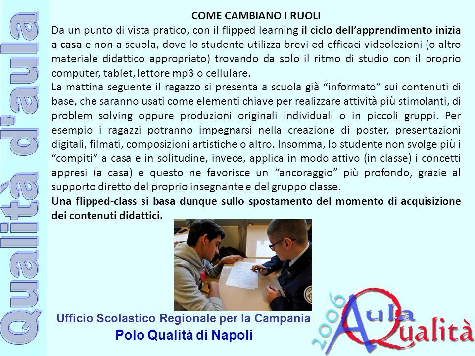 Ufficio Scolastico Regionale per la Campania Polo Qualità di Napoli COME CAMBIANO I RUOLI Da un punto di vista pratico, con il flipped learning il cic